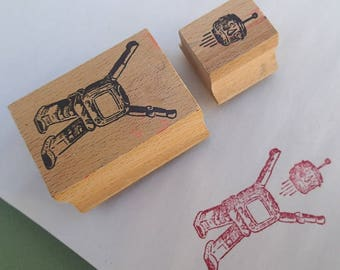 Robot Double Rubber Stamp 1990's Vintage Two Part Stamp Retro Style