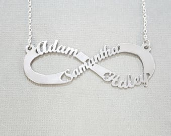 Infinity Necklace Personalized, Children Names Mom Infinity Necklace, In sterling silver, or 10k or 14k Solid gold or gold plated