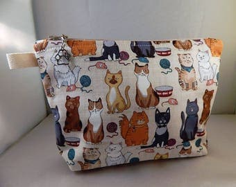 Cats Feline petsTan Print All Breeds Cats Makeup Bag Cosmetic Travel Bag Organizer Bag Cute