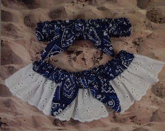 Navy Blue light blue Bandana Paisley Tie knot White Eyelet Lace Wedding Garter Toss Set