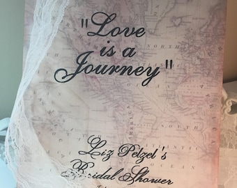 Vintage Travel Wedding Sign..Vintage Map Theme...Sign for Bridal Table...Gift Table ..Welcome Sign.. Map Style..Ireland