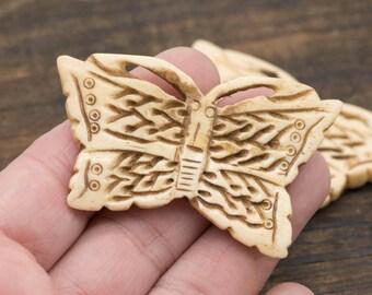 Bone Butterfly Pendant, 1pc, 37mm x 60mm, Carved Bone Pendant,  Bone Beads - P52