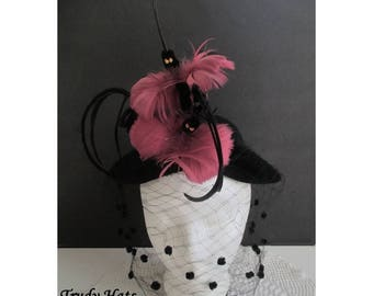 Vintage Ladies Hat * TRUDY HATS * Birds And Feathers * Full Veil * Whimsical Hat