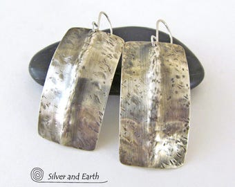 Hammered Sterling Silver Earrings, Contemporary Edgy Modern Earrings, Sculptural Urban Chic Jewelry, Artisan Metalsmith Solid Silver Jewelry