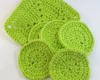 Crochet Washcloth Set, Facial Scrubbies, Spa Washcloth, Eco-Friendly Pads, Make-up Removers, Cotton Washcloth