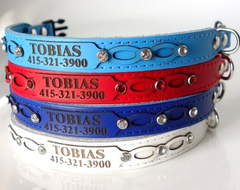 Cute Leather Cat Collar Personalized with Engraved ID Tag and Safety Buckle-Royal Blue Bling Crystal  All Genuine Leather 5/8 Inch Width