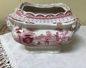 Pink & White Transferware Bowl Staffordshire Sugar Bowl Pink Transfer ware Red White Transferware Traditional China Earthenware Pottery
