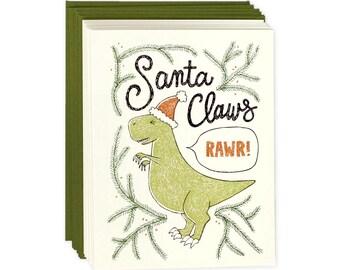Funny Holiday Card Set of 8 - Santa Claws