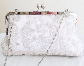 BRIDES HEIRLOOM CLUTCH, Keepsake, repurposed from Moms wedding dress, Use moms dress to make a family heirloom