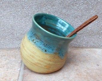 Salt pig or cellar hand thrown stoneware pottery handmade ceramic wheelthrown handthrown