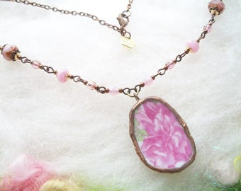 Broken China Necklace with Long Chain Handmade Bezel Vintage Rose Pattern and Beaded Chain Pink Roses Glass Beads