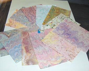 pack 12, hand  marbled paper,, マーブル紙,   scrapbook paper -  cm 25 x 17,5  -  6013