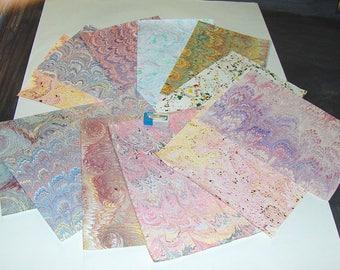 marbled paper,, pack 12,,   scrapbook paper -  cm 25 x 17,5  -  6013