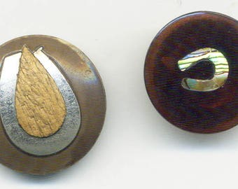 Two Antique INLAY BUTTONS Celluloid Horn