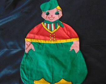 Vintage 1960 Dutch boy cotton peg bag laundry kitsch retro
