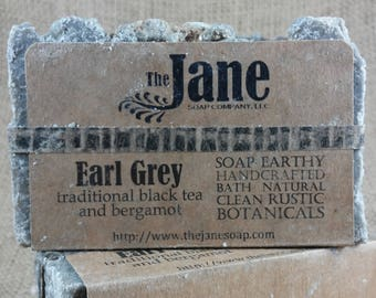 Earl Gray Sea Salt Soap - Traditional Black Tea with Bergamot Essential Oil Sea Salt Soap - Rustic Hot Process Soap