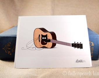 Black Cat in a Guitar - Sammy Blank Greeting Card