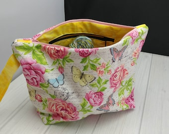 Medium Project Bag, Knitting Project Bag, Crochet Project Bag, Butterfly Project Bag