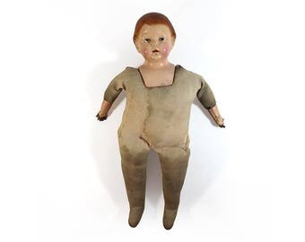Large 26-Inch Antique Composition Doll with Stuffed Body