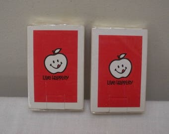 Vintage 2 Decks of Sealed Live Happley Playing Cards