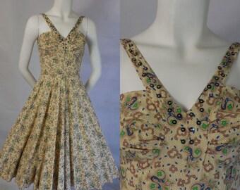 1950 Crisp Cotton Sun Dress Shelf Bust
