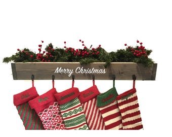 family stocking hooks, wall stocking holder, Christmas decor, no mantle, farmhouse decor, reclaimed wood, stocking hanger, Merry Christmas