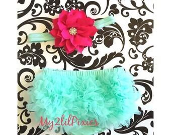 SALE Baby Girl Headband and Bloomers. Ruffle bum bloomers. Diaper cover, baby girl headband, newborn, infant, baby girl set, mint and fuchsi