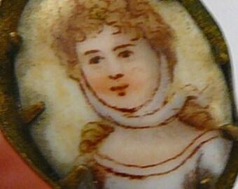 Porcelain Portrait Hatpin Lady