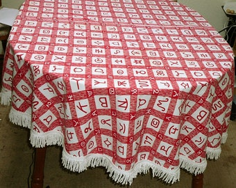 """Vintage Western Tablecloth Branding Irons Fringe Red Gingham 72"""" x 64"""" Oval"""