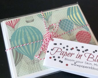 Hot Air Ballon Blank Cards / Stationery Set / Set of 3