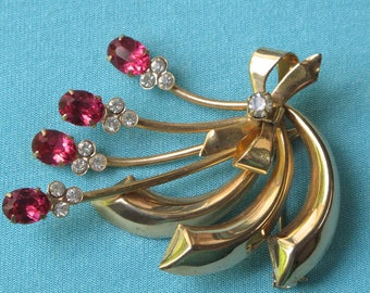 Vintage Brooch Pin Elegant 1940s Gold Toned Spray With Bow Pink & Clear Rhinestones Hook for Watch or Locket