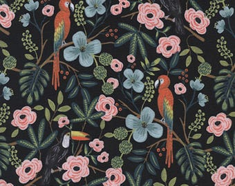 Cotton + Steel - Rifle Paper Co. - Menagerie - Paradise Garden in Midnight