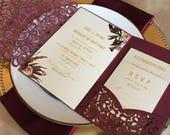 Laser Cut Pocket Wedding Invitation - Burgundy Wedding Invitation Vintage - Fall Floral Lasercut Suite - Envelope Liner