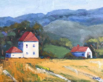 WOODLAND, CA, FARM, 12 x 16 - Northern California Landscape - Original Oil Painting - Honeystreasures - Art - Artwork - Farmhouse - Farmland