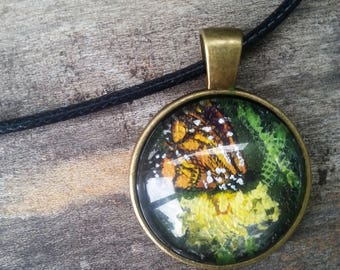 Monarch Butterfly Hand Painted Glass Cabochon Pendant