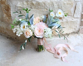 Loose Garden Style Wedding Bouquet | Blush and Light Peach | Silk Flower Bridal Bouquet | SG-1042