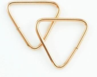 1 Triangle Hoop - 18 gauge 15mm OD - 14kt Gold Filled, 14kt Solid Gold, Sterling Silver, 14kt Rose Gold Filled, 14kt Solid Rose Gold