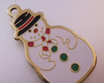 XMAS in JULY SALE Snowman Charm Pendant Enamel Gold Tone Vintage