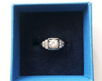 Art Deco Engagement Ring in 18KT / Old European Cut / Filigree Diamond Engagement Ring