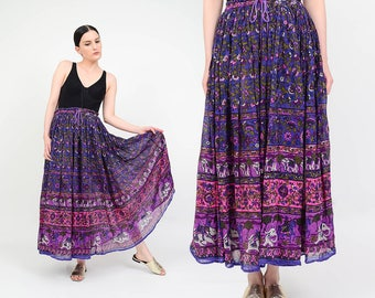 Purple Indian Cotton Gauze Skirt | Ethnic Print ELEPHANT Sheer Skirt | 90s Maxi Skirt Boho Gypsy Skirt | Drawstring Waist Long Skirt | M L