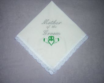 Irish Mother of the Groom Keepsake Heirloom Wedding Handkerchief gift (Claddagh)