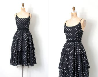 vintage 1970s dress / black and white polka dot 70s dress / medium m