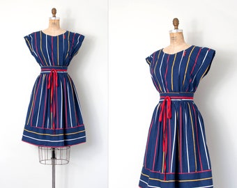 vintage 1970s dress / blue striped cotton 70s dress / small s