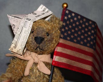 Yankee Doodle Teddy Pattern & Full Mohair Kit and Flag
