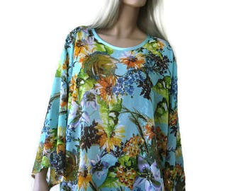 Aqua Blue/green-Loose summer blouse-gorgeous chiffon blouse with wide sleeves--Loose tunic-Spring summer collection-Only one available