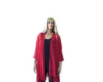 Red Kimono-Bohemian Lace Kimono cardigan-Soft Red Fringe kimono/Ruana -Oversize kimono
