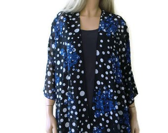 Black and white Polka dot and blue floral, Boho Kimono- Lagenlook style- Kimono cardigan -  Chiffon summer collection-Chiffon beach pareo