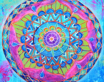 Lotus Mandala // Original Acrylic Painting - 12 x 12