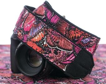 Butterfly Camera Strap, Monarch, Red, Pink, dSLR or SLR, Camera Neck Strap, Canon or Nikon dSLR, Pocket,177 w