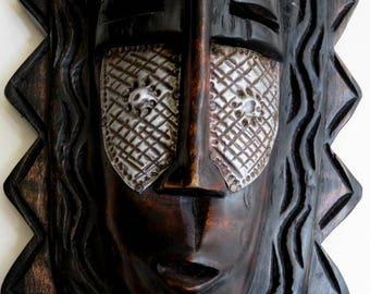 "vintage AFRICAN 17"" MASK wood SCULPTURE,face, Ghana, handmade,carved texture,hammered metal,brown,silver,dark rust,fine art, folk art"